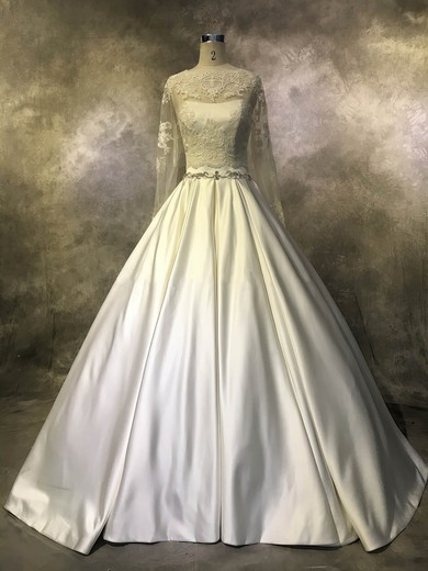 Satin Tulle Scoop Neck Court Train Ball Gown with Beading Wedding Dresses #PWD00022943