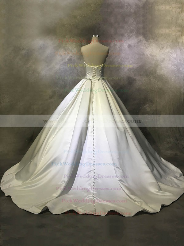 Satin Strapless Court Train Ball Gown with Buttons Wedding Dresses #PWD00022944