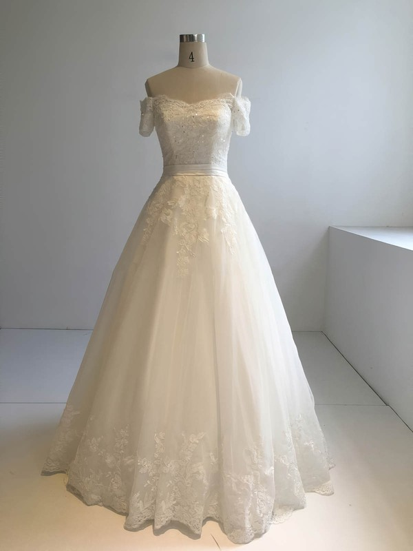 Tulle Off-the-shoulder Floor-length Ball Gown with Appliques Lace Wedding Dresses #PWD00022945