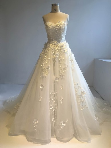 Organza Sweetheart Court Train Ball Gown with Sequins Wedding Dresses #PWD00022946