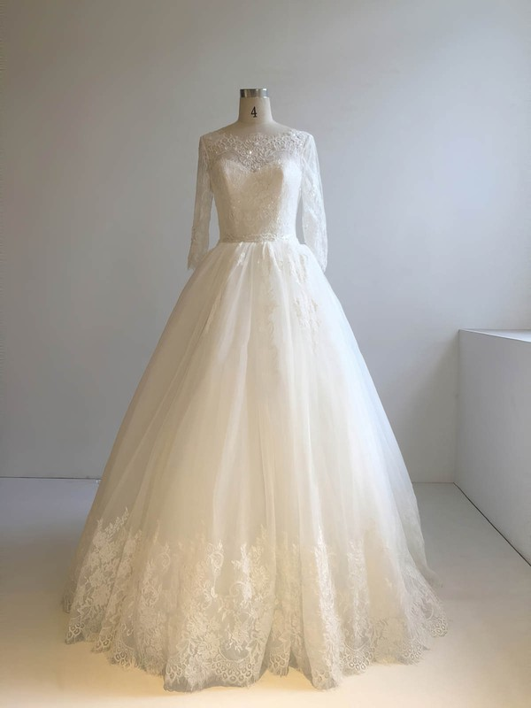 Tulle Scoop Neck Floor-length Ball Gown with Appliques Lace Wedding Dresses #PWD00022948