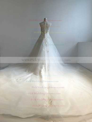 Tulle Scoop Neck Cathedral Train Ball Gown with Appliques Lace Wedding Dresses #PWD00022949