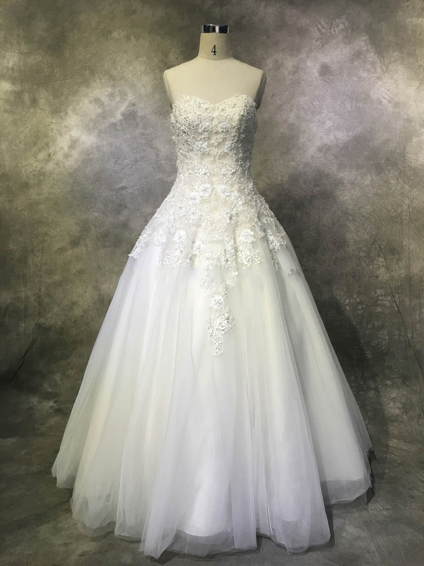 Tulle Sweetheart Floor-length Ball Gown with Sequins Wedding Dresses #PWD00022952