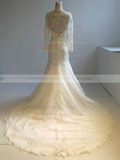 Tulle Scoop Neck Court Train Trumpet/Mermaid with Appliques Lace Wedding Dresses #PWD00022953