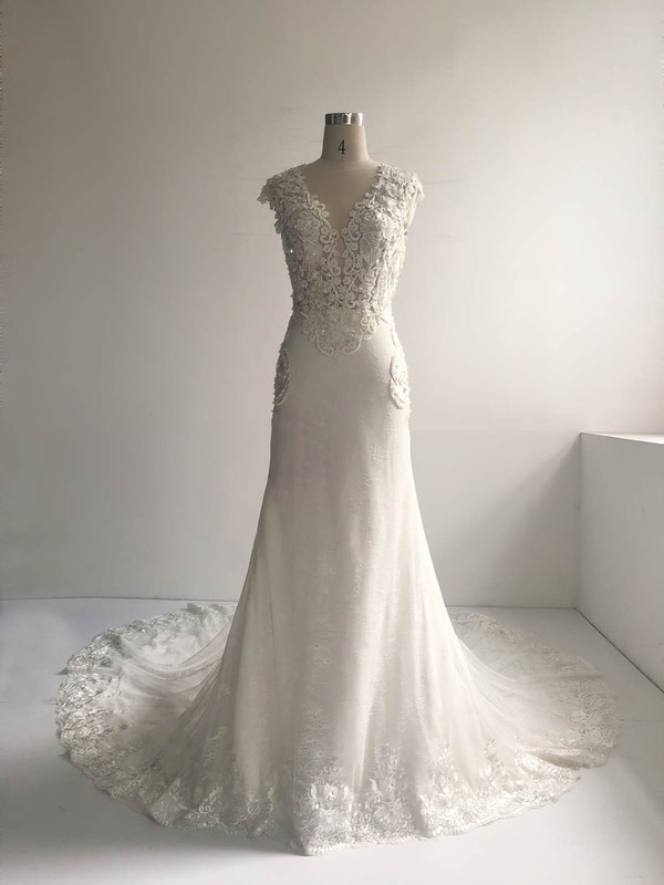 Lace Tulle Scoop Neck Court Train Trumpet/Mermaid with Pearl Detailing Wedding Dresses #PWD00022954