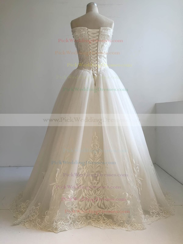 Tulle V-neck Floor-length Ball Gown with Beading Wedding Dresses #PWD00022955