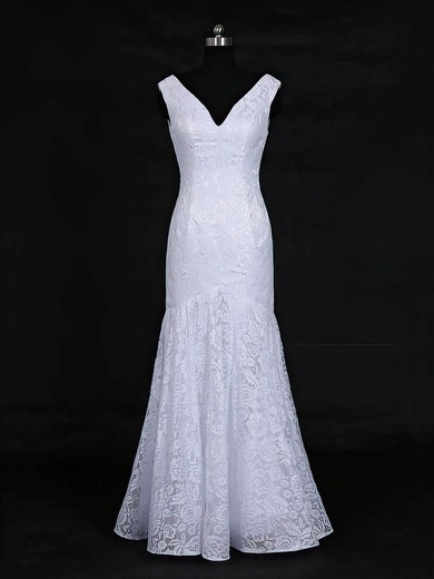 Lace V-neck Floor-length Trumpet/Mermaid with Ruffles Wedding Dresses #PWD00022956