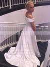 Satin Off-the-shoulder Sweep Train A-line with Ruffles Wedding Dresses #PWD00022957