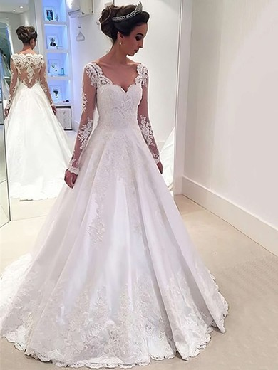 Satin Tulle V-neck Sweep Train Ball Gown with Appliques Lace Wedding Dresses #PWD00022958