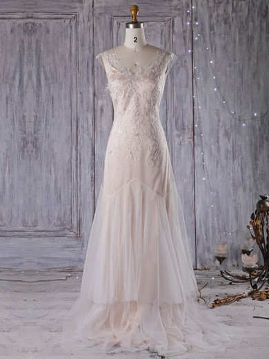 Tulle V-neck Sweep Train A-line with Appliques Lace Wedding Dresses #PWD00022959