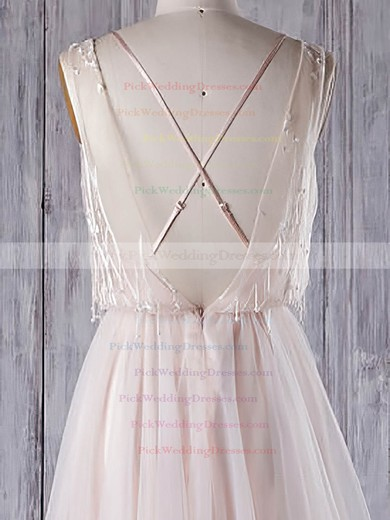 Tulle V-neck Sweep Train A-line with Appliques Lace Wedding Dresses #PWD00022960