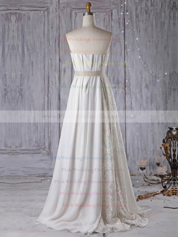 Lace Chiffon Strapless Floor-length Empire with Sashes / Ribbons Wedding Dresses #PWD00022961