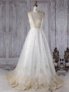 Tulle Scoop Neck Sweep Train Princess with Appliques Lace Wedding Dresses #PWD00022962