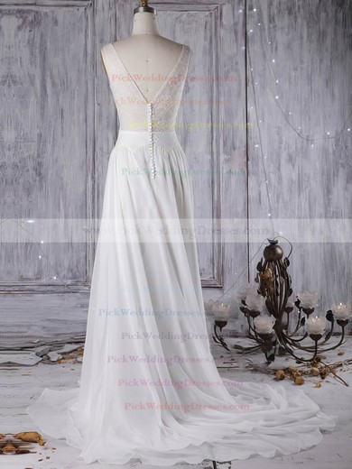 Tulle Chiffon Scoop Neck Sweep Train A-line with Lace Wedding Dresses #PWD00022963