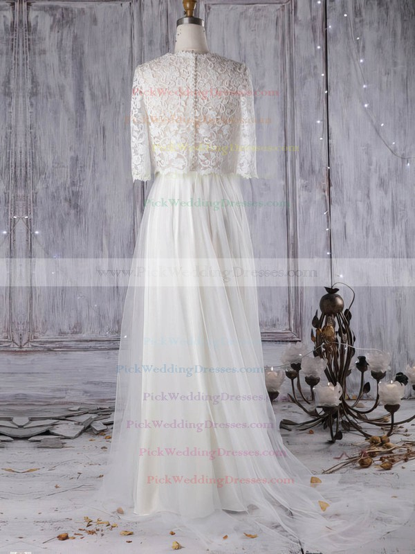 Lace Tulle Scoop Neck Sweep Train A-line with Pearl Detailing Wedding Dresses #PWD00022965