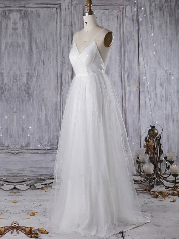 Tulle V-neck Sweep Train A-line with Sequins Wedding Dresses #PWD00022966