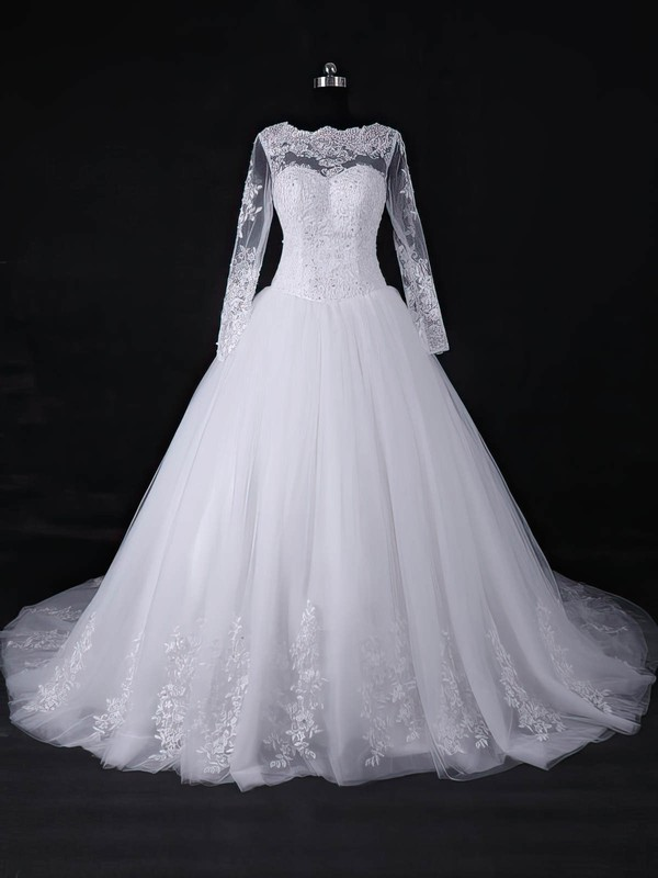 Tulle Scalloped Neck Court Train Ball Gown with Appliques Lace Wedding Dresses #PWD00022967