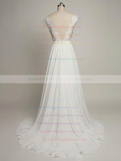 Tulle Chiffon Scoop Neck Sweep Train A-line with Appliques Lace Wedding Dresses #PWD00022968
