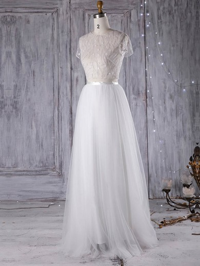 Tulle Scoop Neck Floor-length A-line with Sashes / Ribbons Wedding Dresses #PWD00022971