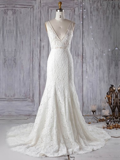 Lace Tulle V-neck Court Train Trumpet/Mermaid with Appliques Lace Wedding Dresses #PWD00022972