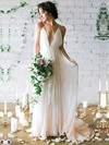 Tulle V-neck Sweep Train A-line with Sashes / Ribbons Wedding Dresses #PWD00022975