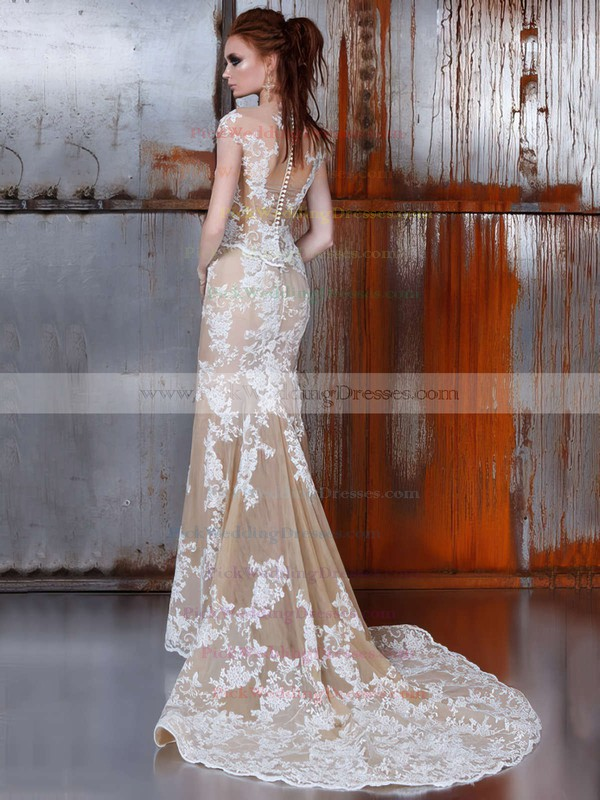 Tulle Scoop Neck Detachable Trumpet/Mermaid with Appliques Lace Wedding Dresses #PWD00022976