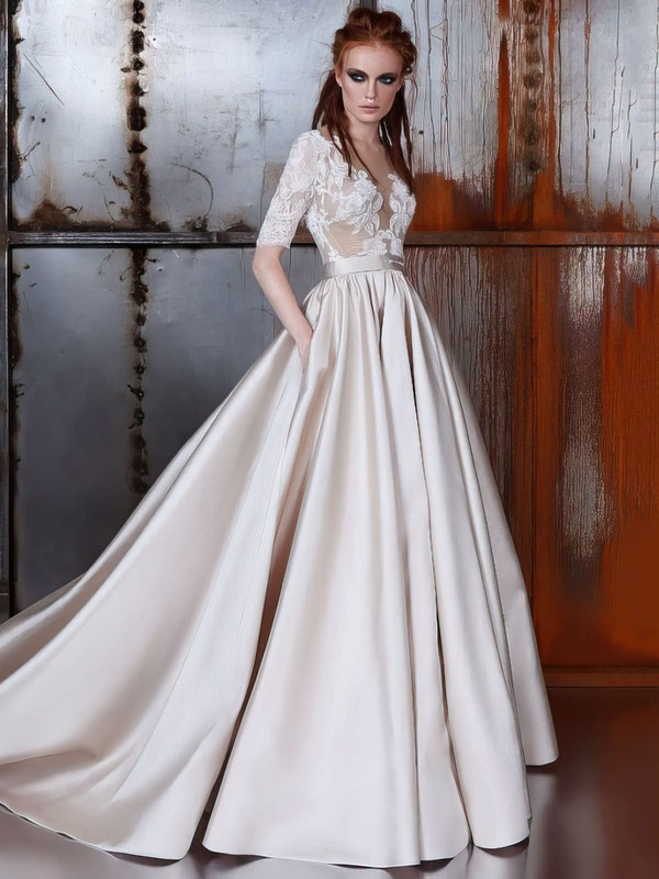 Satin Tulle Scoop Neck Court Train Ball Gown with Sashes / Ribbons Wedding Dresses #PWD00022977