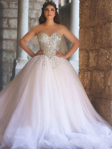 Tulle Sweetheart Court Train Ball Gown with Crystal Detailing Wedding Dresses #PWD00022979