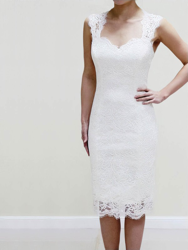 Lace Sweetheart Short/Mini Sheath/Column with Ruffles Wedding Dresses #PWD00022980