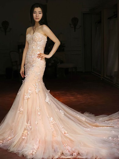 Tulle Sweetheart Court Train Trumpet/Mermaid with Appliques Lace Wedding Dresses #PWD00022981