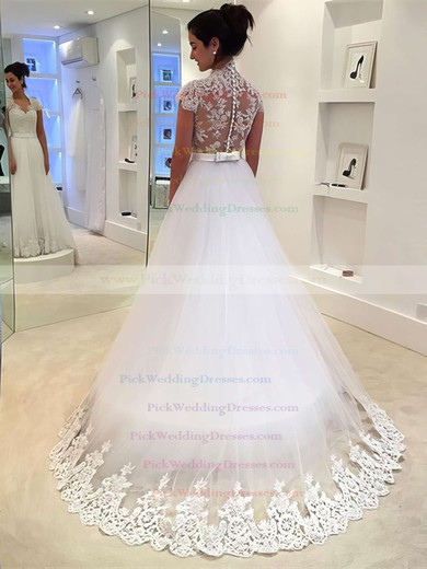 Tulle V-neck Sweep Train Princess with Sashes / Ribbons Wedding Dresses #PWD00022982