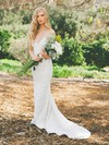 Lace V-neck Sweep Train Trumpet/Mermaid with Ruffles Wedding Dresses #PWD00022986