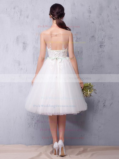 Tulle Scoop Neck Knee-length Princess with Sashes / Ribbons Wedding Dresses #PWD00022987