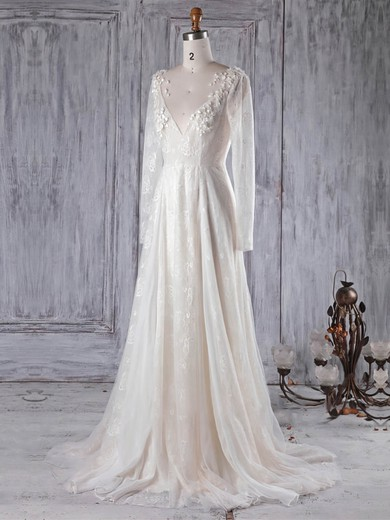 Lace Tulle Scoop Neck Sweep Train A-line with Appliques Lace Wedding Dresses #PWD00022989