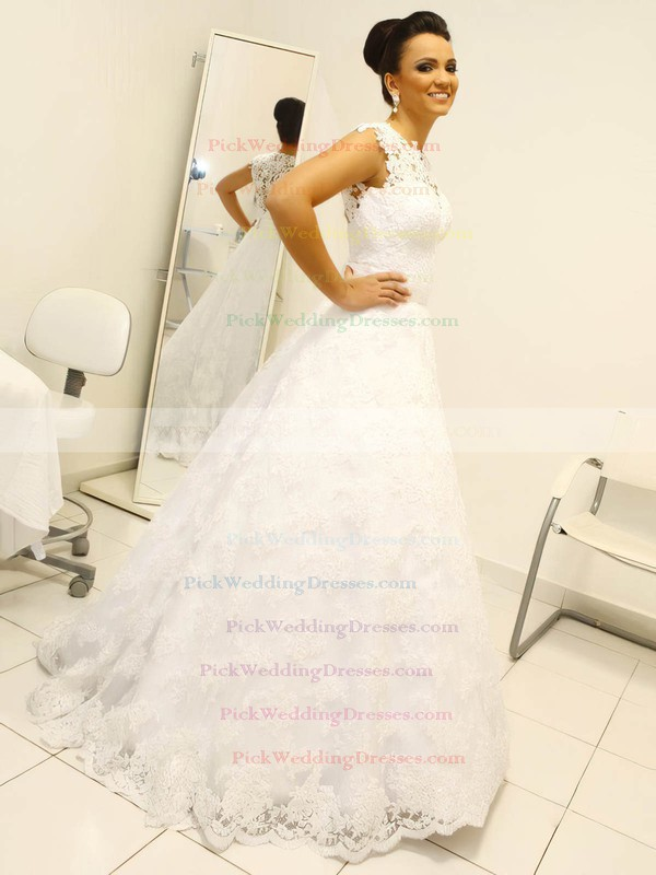 Tulle Scoop Neck Floor-length Princess with Sashes / Ribbons Wedding Dresses #PWD00022990