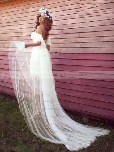 Tulle Lace Off-the-shoulder Asymmetrical Sheath/Column with Ruffles Wedding Dresses #PWD00022991