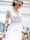 Tulle Scoop Neck Sweep Train Princess with Appliques Lace Wedding Dresses #PWD00022993