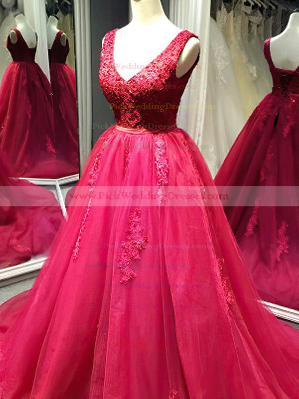 Tulle V-neck Court Train Ball Gown with Appliques Lace Wedding Dresses #PWD00022995