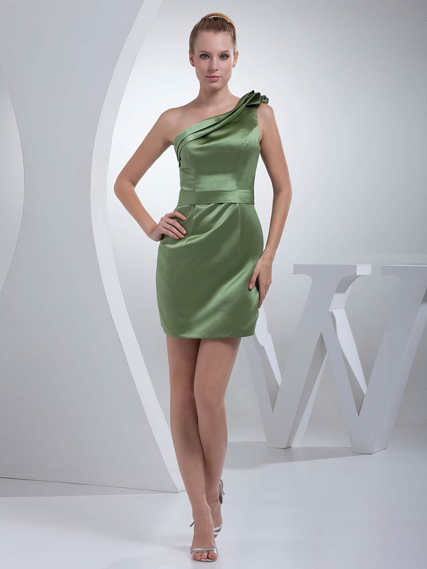 Sheath/Column Short/Mini Satin Ruched One Shoulder Bridesmaid Dresses #PWD01011695