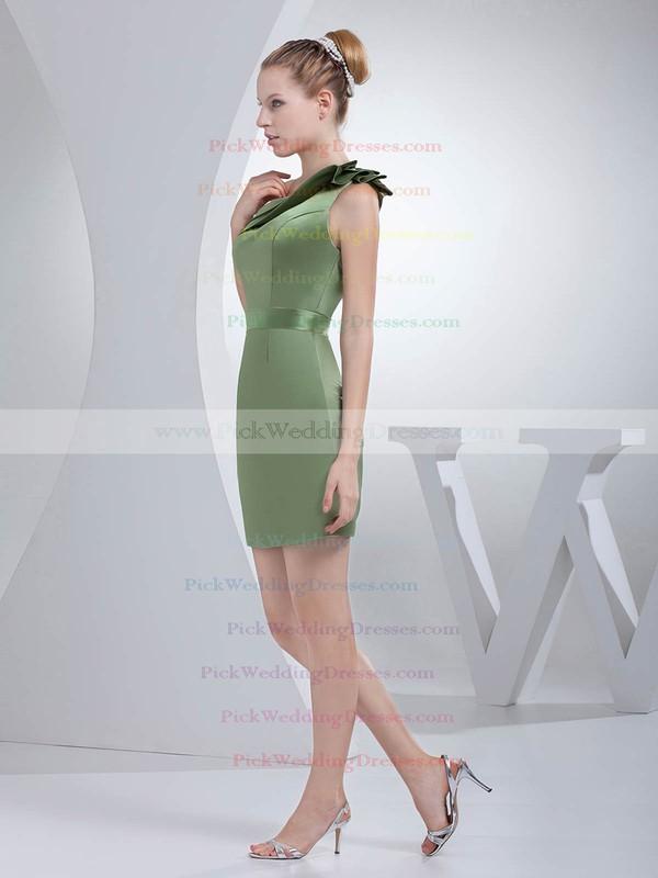 Sheath/Column Short/Mini Satin Ruched One Shoulder Bridesmaid Dresses #PWD01011695
