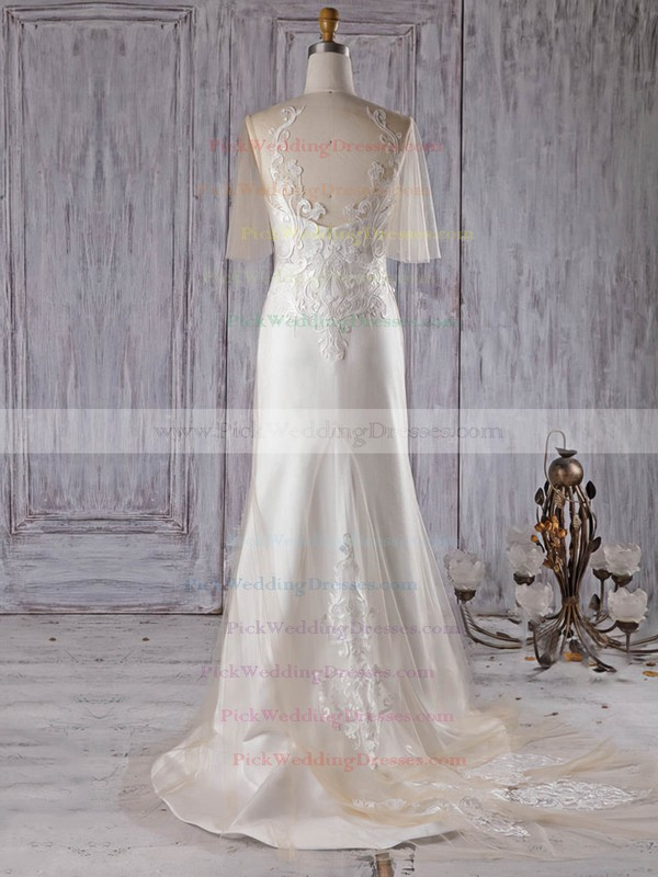 Satin Tulle Scoop Neck Sweep Train Trumpet/Mermaid with Appliques Lace Wedding Dresses #PWD00022997