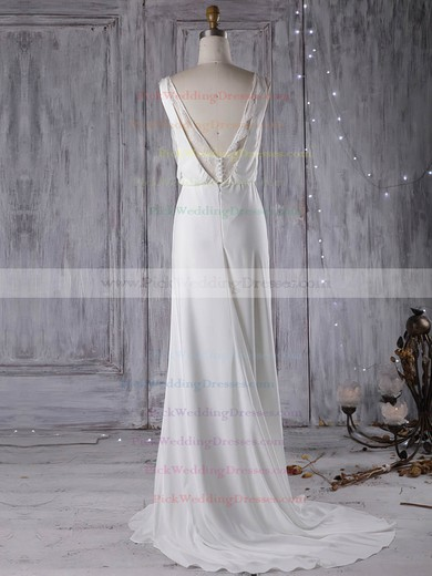 Chiffon V-neck Sweep Train Sheath/Column with Lace Wedding Dresses #PWD00023000