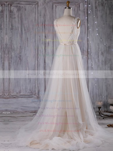 Tulle V-neck Sweep Train A-line with Sashes / Ribbons Wedding Dresses #PWD00023001