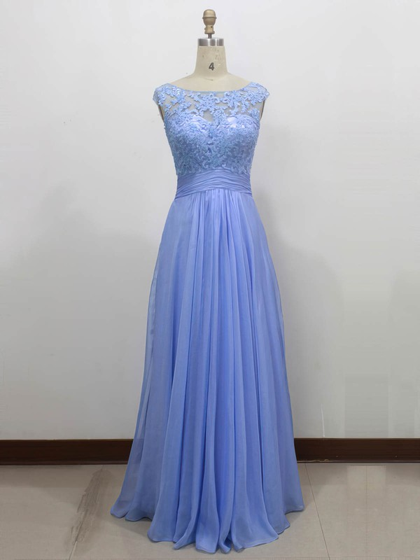 Chiffon Tulle A-line Scoop Neck Floor-length with Appliques Lace Bridesmaid Dresses #PWD01013434