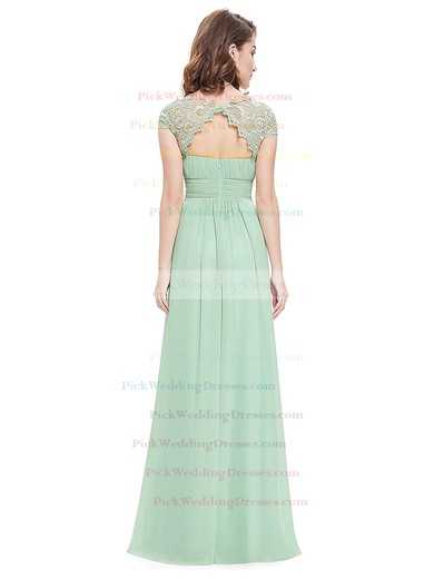 Lace Chiffon A-line Scoop Neck Floor-length with Pleats Bridesmaid Dresses #PWD01013435