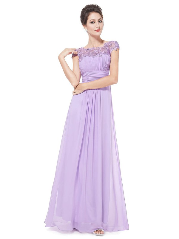 Lace Chiffon A-line Scoop Neck Floor-length with Pleats Bridesmaid Dresses #PWD01013436
