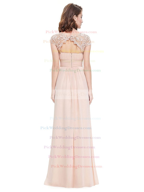 Lace Chiffon A-line Scoop Neck Floor-length with Pleats Bridesmaid Dresses #PWD01013437