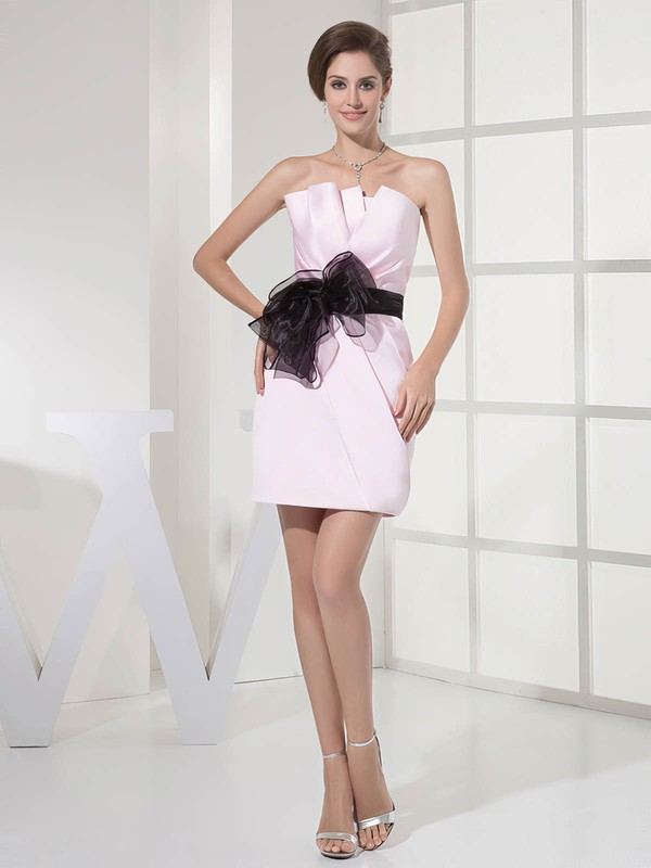 Sheath/Column Short/Mini Satin Sashes/Ribbons Strapless Bridesmaid Dresses #PWD01011696
