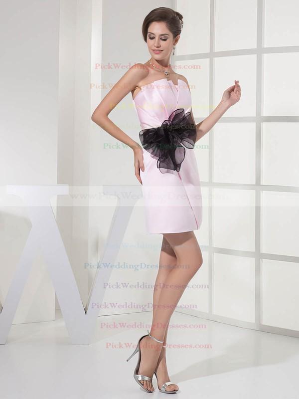 Sheath/Column Short/Mini Satin Sashes/Ribbons Strapless Bridesmaid Dresses #PWD01011696