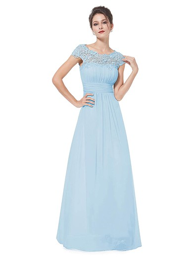 Lace Chiffon A-line Scoop Neck Floor-length with Pleats Bridesmaid Dresses #PWD01013438